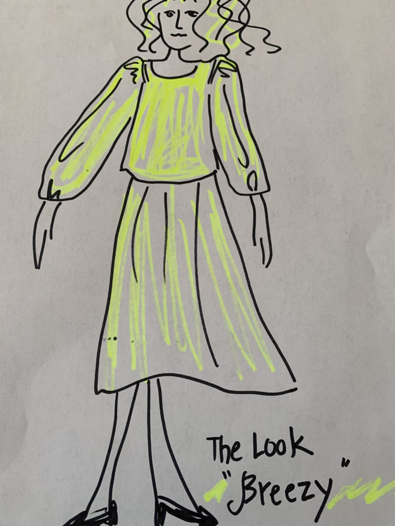 sketch of top and skirt design