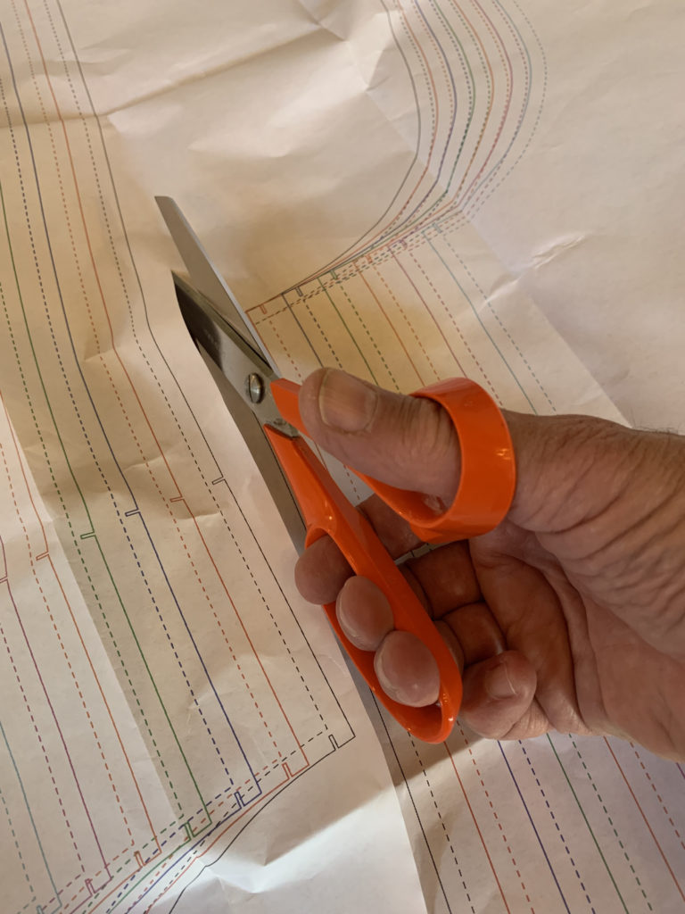 cutting pattern piece with scissor