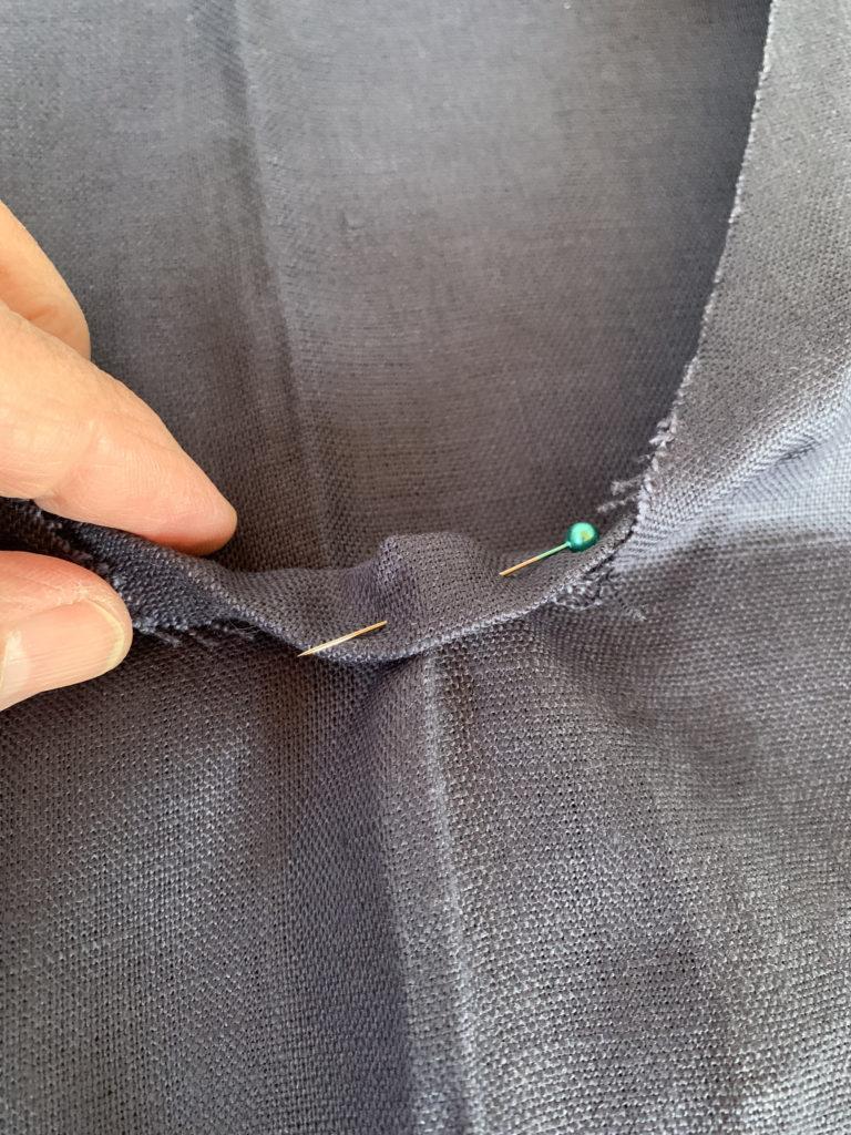 pinned linen fabric for neckline