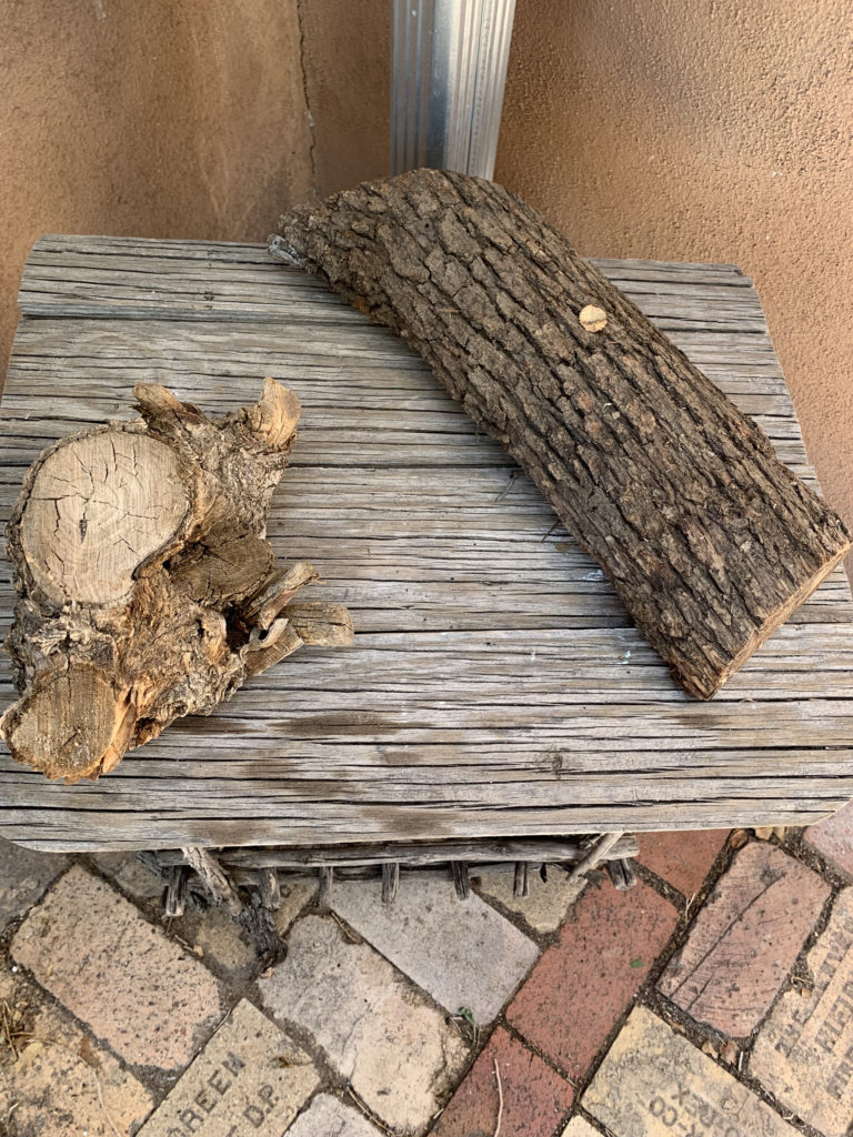 rustic wood table and logs