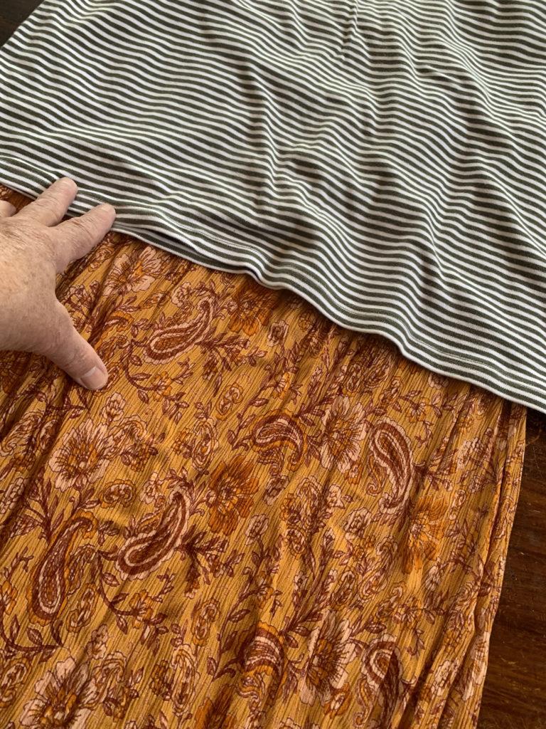 striped tank tee and boho dress