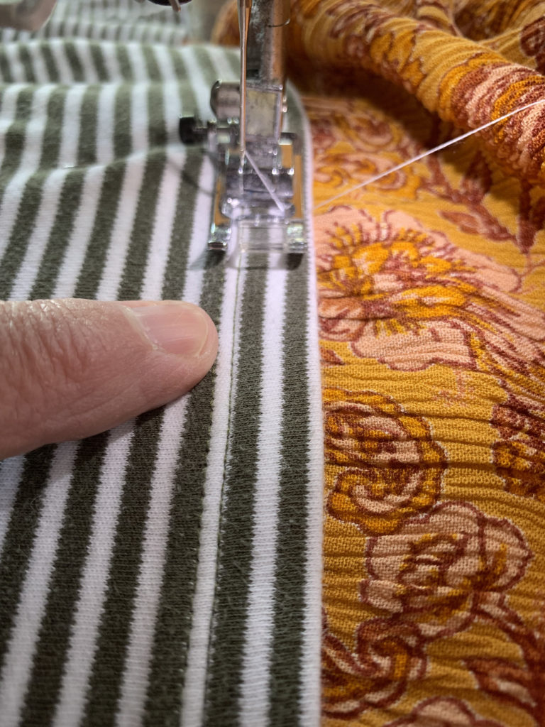 sew striped tee to boho dress